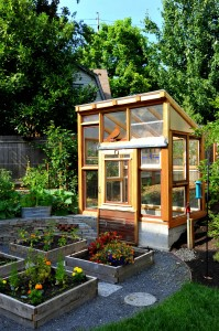 Greenhouse and raised bed vegetable garden surrounded by perennial edibles.